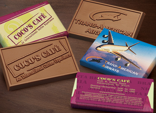 BUSINESS CARD SIZED CUSTOM MOLDED CHOCOLATE BARS