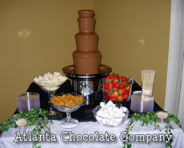 ATLANTA CHOCOLATE FOUNTAIN RENTAL 27 inch chocolate fountain with milk chocolate and an array of dipping items in a casual setting -image
