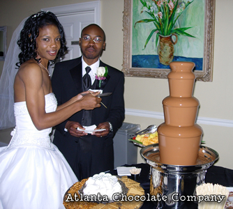27 inch Milk Chocolate Fountain - Wedding Photo of bride and groom -image