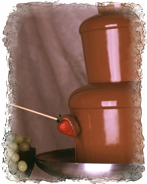 Imagine Belgian Milk Chocolate cascading down over the tiers of your fountain and your guests amazement as they dip their delectable treats...
