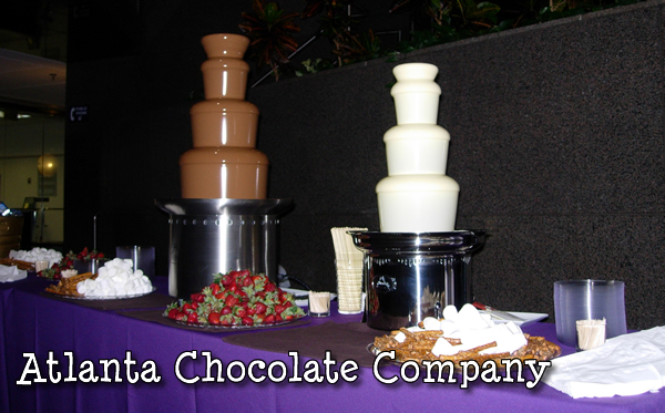 Willy Wonka Theme Party - 27 Inch Fountain with White Belgian Chocolate and 34 Inch Fountain with Belgian Milk Chocolate ATLANTA CHOCOLATE FOUNTAIN AT FULTON COUNTY ATRIUM FOR SCHOOL PROM